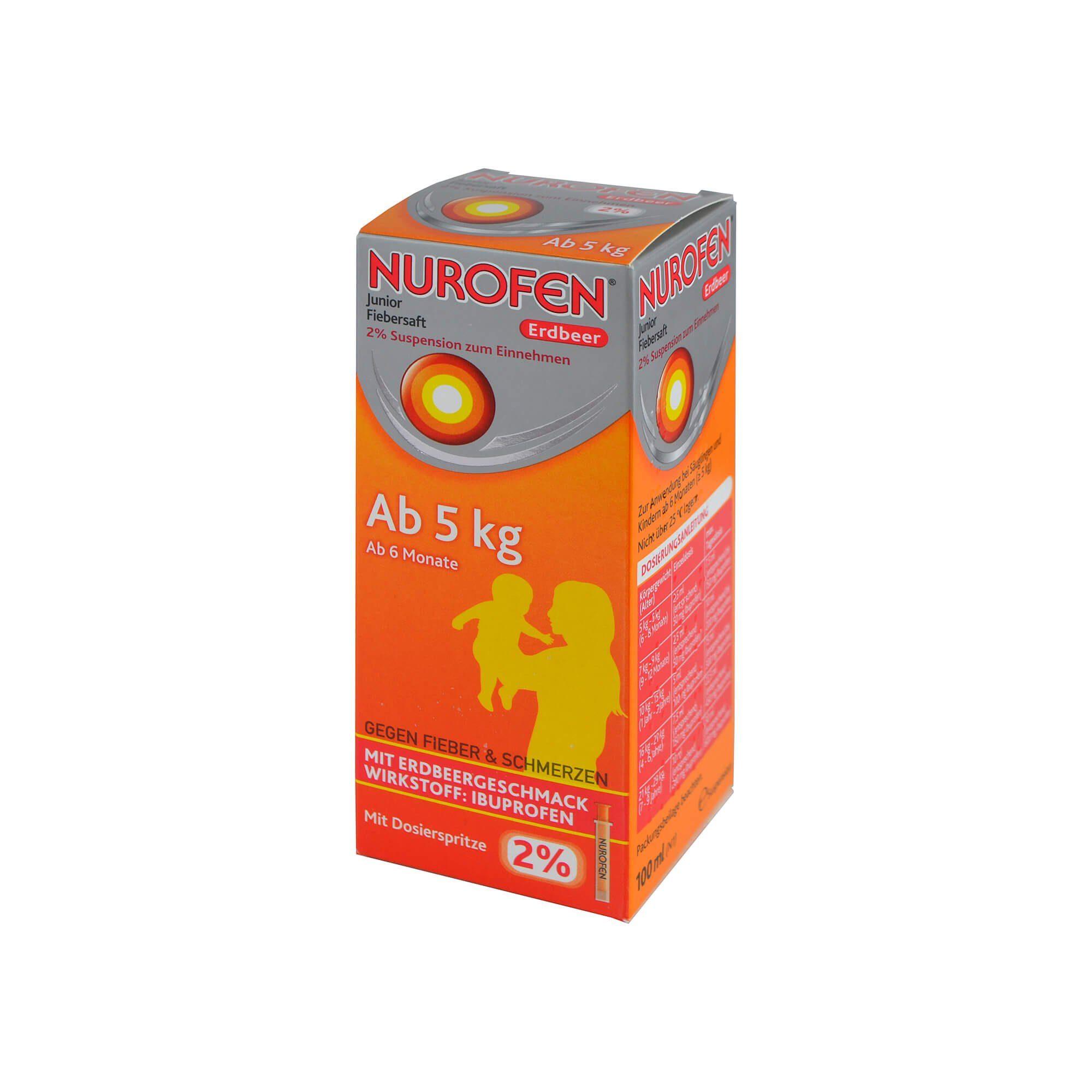 Nurofen Junior Fiebersaft Erdbeer 2% , 100 ml