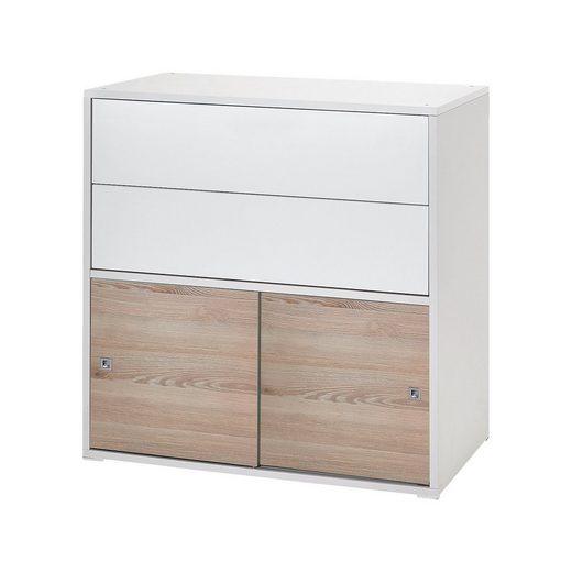 Schardt Kommode Clic, Push-to-Open, weiß/Holznachbildung Pinie, 2-tü