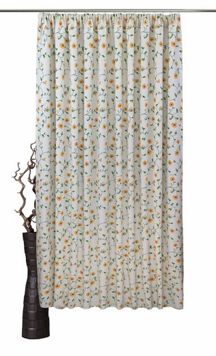 Vorhang nach Maß »Kati«, VHG, Kräuselband (1 Stück), Leinenoptik, Blumen, Ranke, Breite 150 cm