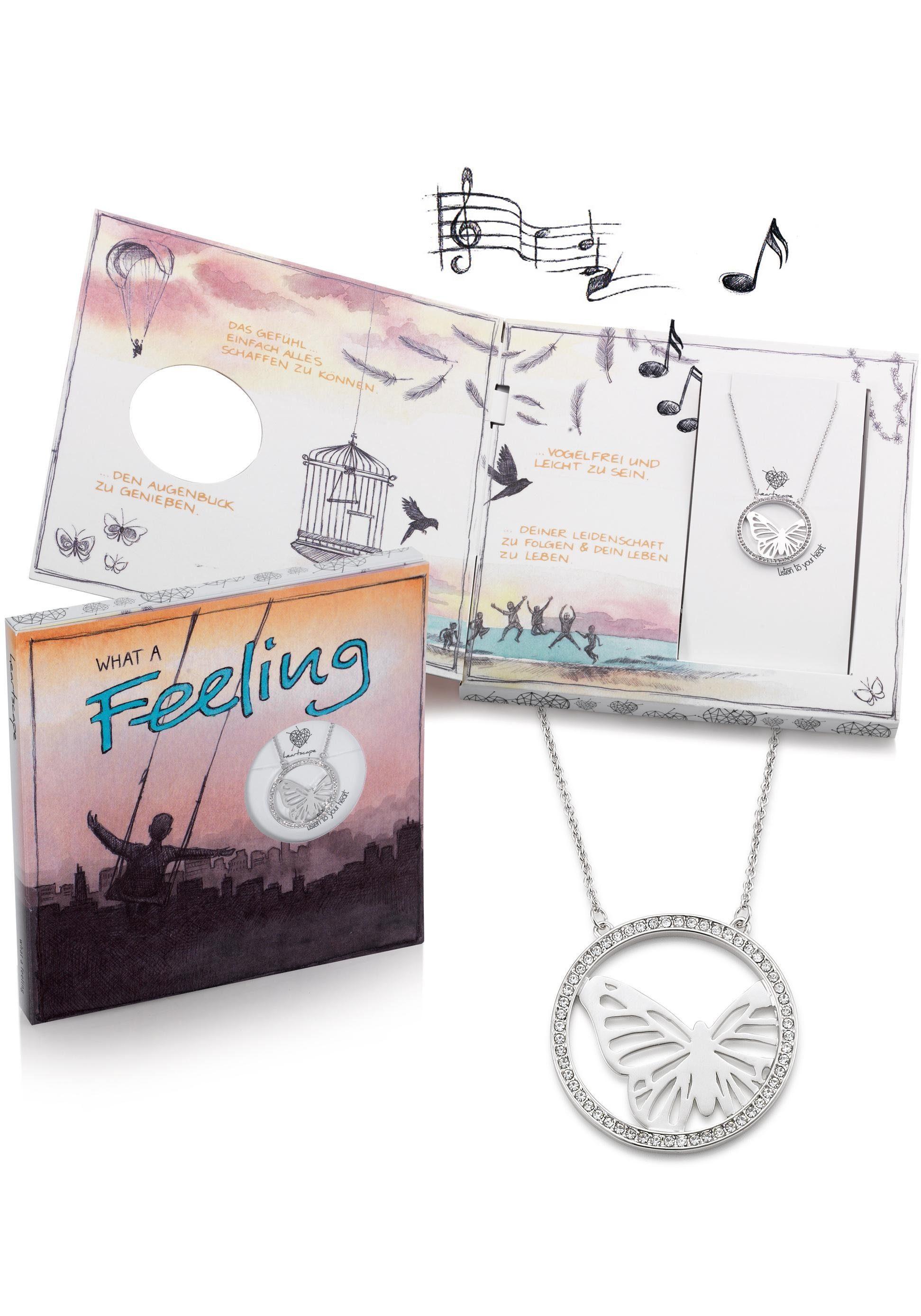 heartscape Kette mit Anhänger »Schmetterling, WHAT A Feeling«, mit Swarovski® Kristallen und Musik-Geschenkbox