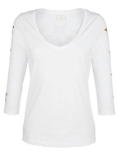 Alba Moda Shirt mit metallicfarbenen Sternedruck