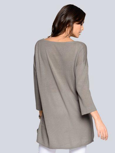 Alba Moda Oversized-Pullover im Leinen-Viskose-Mix