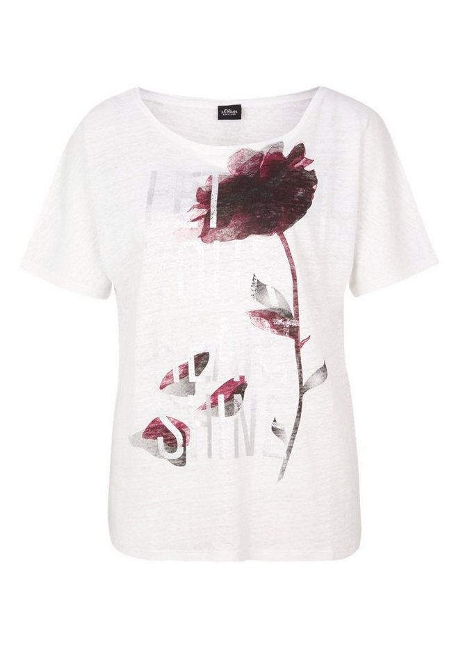 s.Oliver BLACK LABEL Printshirt mit Leinen