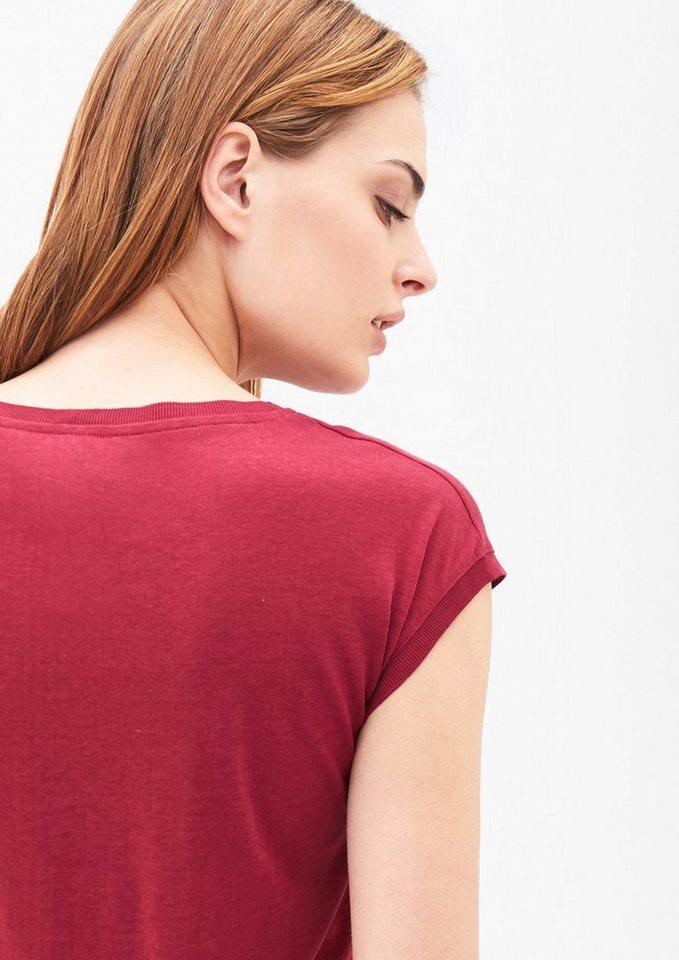 s.Oliver BLACK LABEL Elegantes T-Shirt mit Rippbund