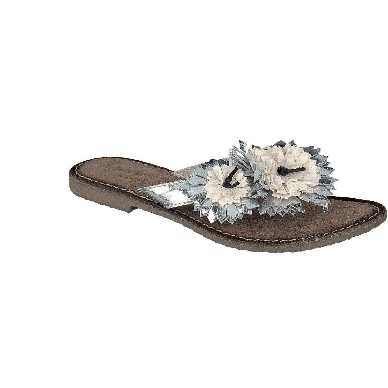 MUSTANG SHOES Sandale mit aufgesetzten Blumen - broschei