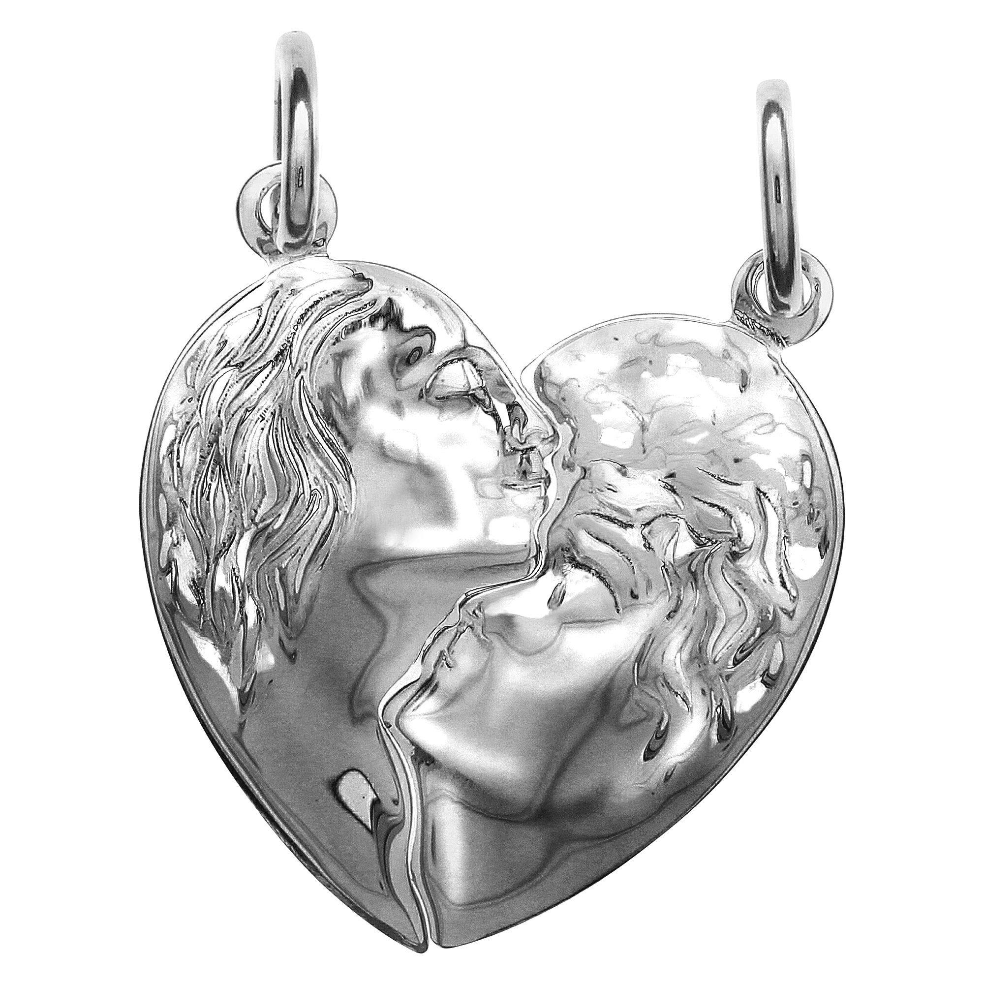 Firetti Anhänger »925/- Sterling Silber rhod. 2tlg. Herz« | Schmuck > Halsketten > Herzketten | Silber | Firetti