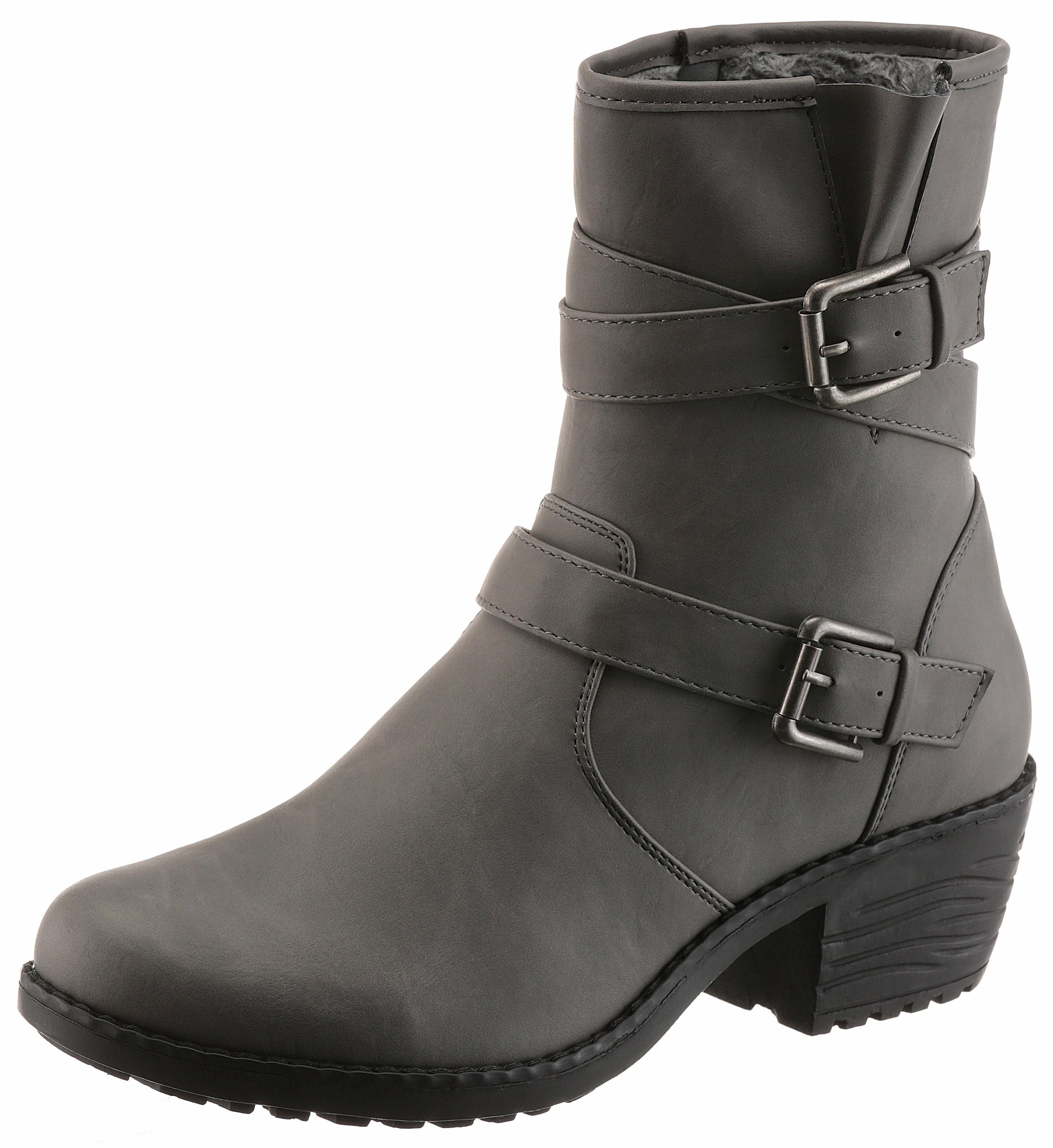 CITY WALK Stiefel, mit modischen Raffungen, schwarz, EURO-Größen, schwarz
