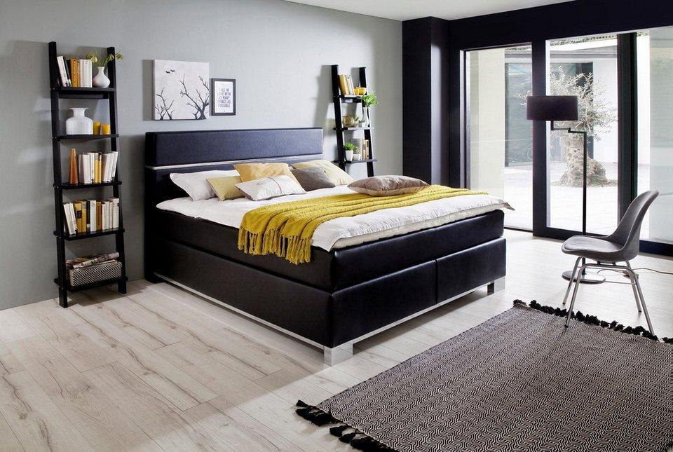 inosign boxspringbett indigo mit edlen metalldetails in chromoptik online kaufen otto. Black Bedroom Furniture Sets. Home Design Ideas