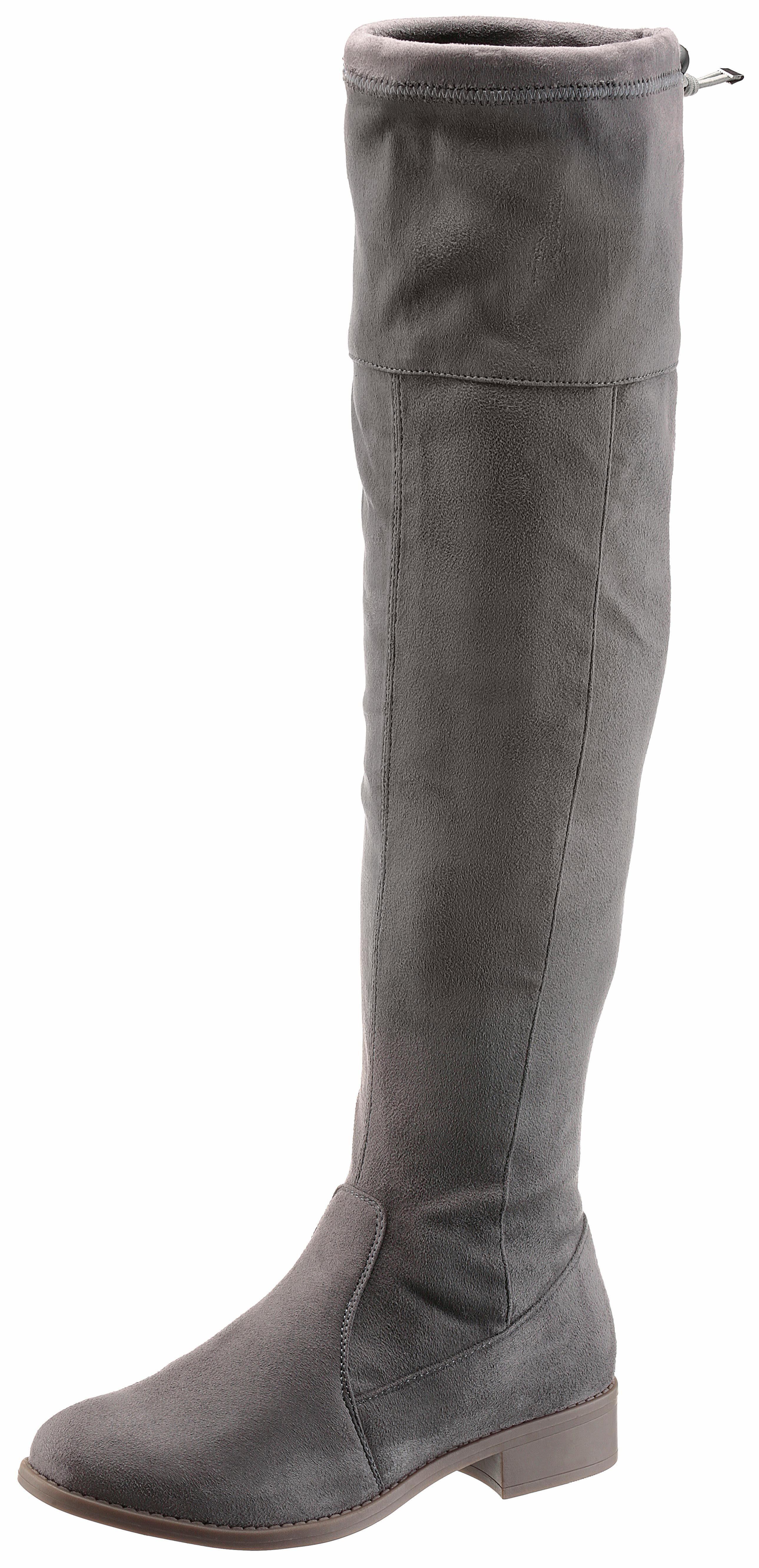 Arizona Overkneestiefel, in klassischem Look, grau, Normalschaft, EURO-Größen, grau