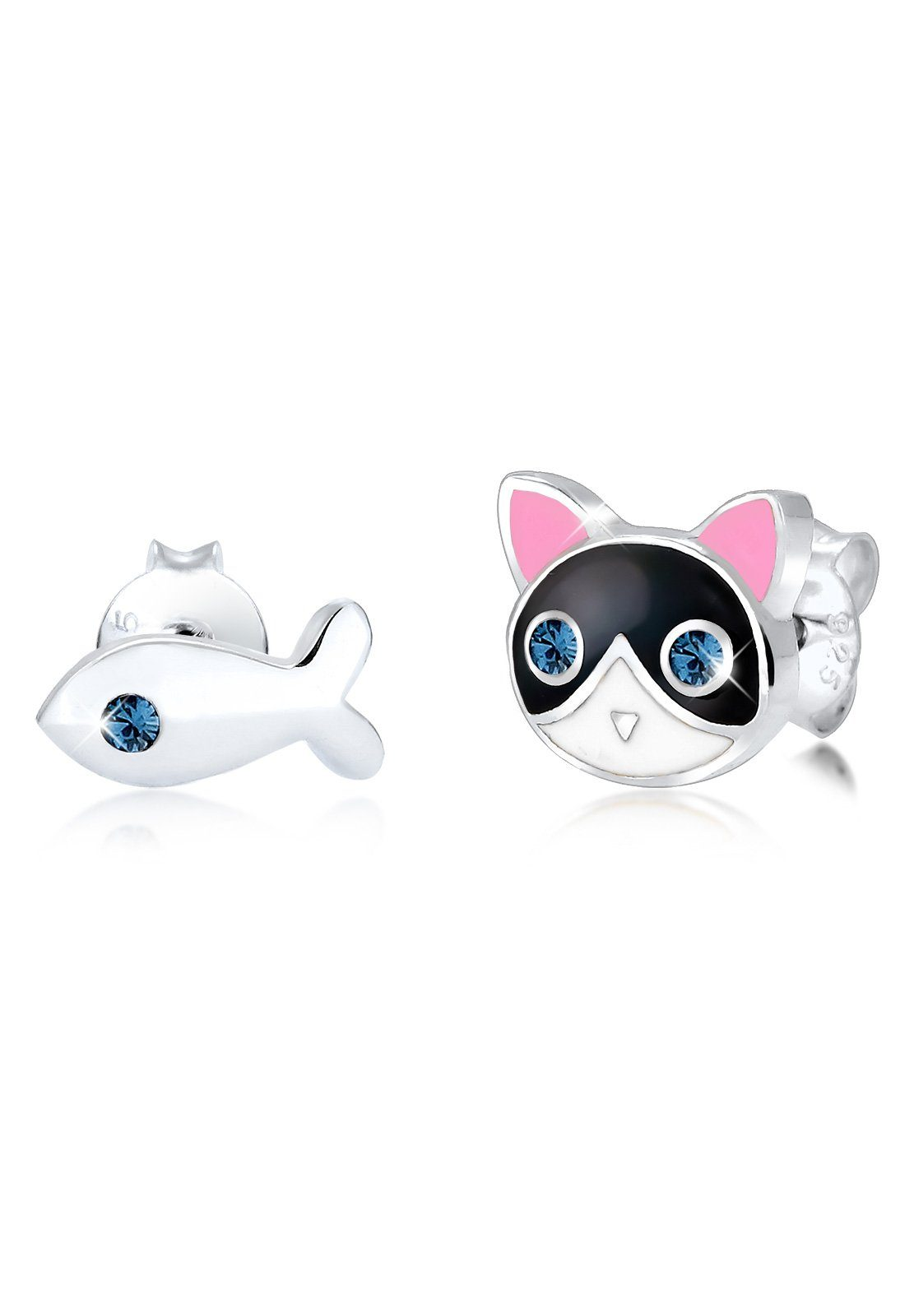 Elli Ohrringe »Kinder Katze Fisch Swarovski® Kristalle Silber«