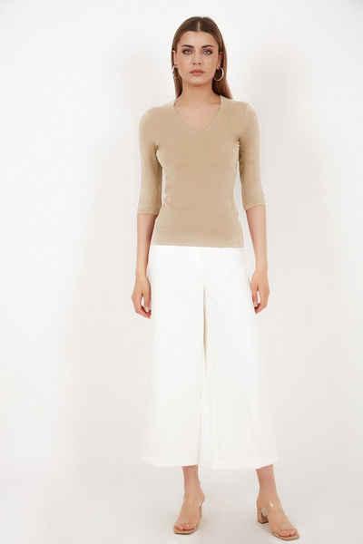 Vivienne Fashion 3/4-Arm-Shirt »Qualitativ hochwertiger Modal - Strickshirt mit V-Auschnitt und 3/4- Arm« Innenfutter aus eigenem Stoff