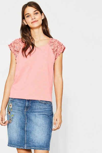ESPRIT CASUAL Baumwoll T-Shirt mit floraler Spitze Sale Angebote Bagenz