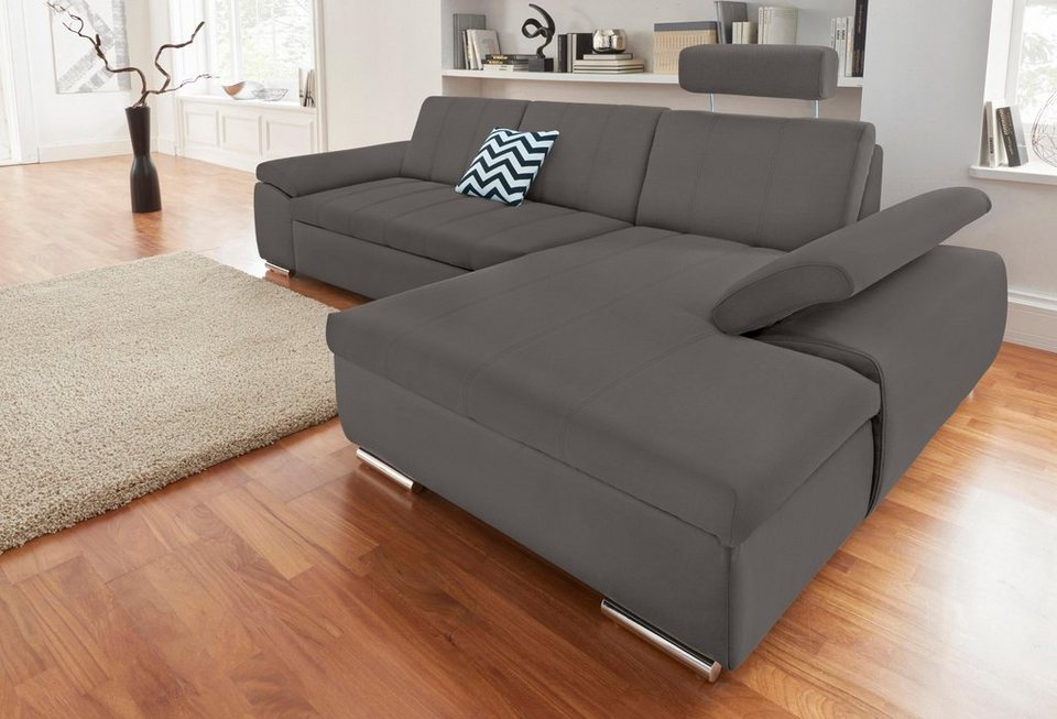 domo collection ecksofa mit recamiere wahlweise mit bettfunktion in drei bezugsqualit ten. Black Bedroom Furniture Sets. Home Design Ideas