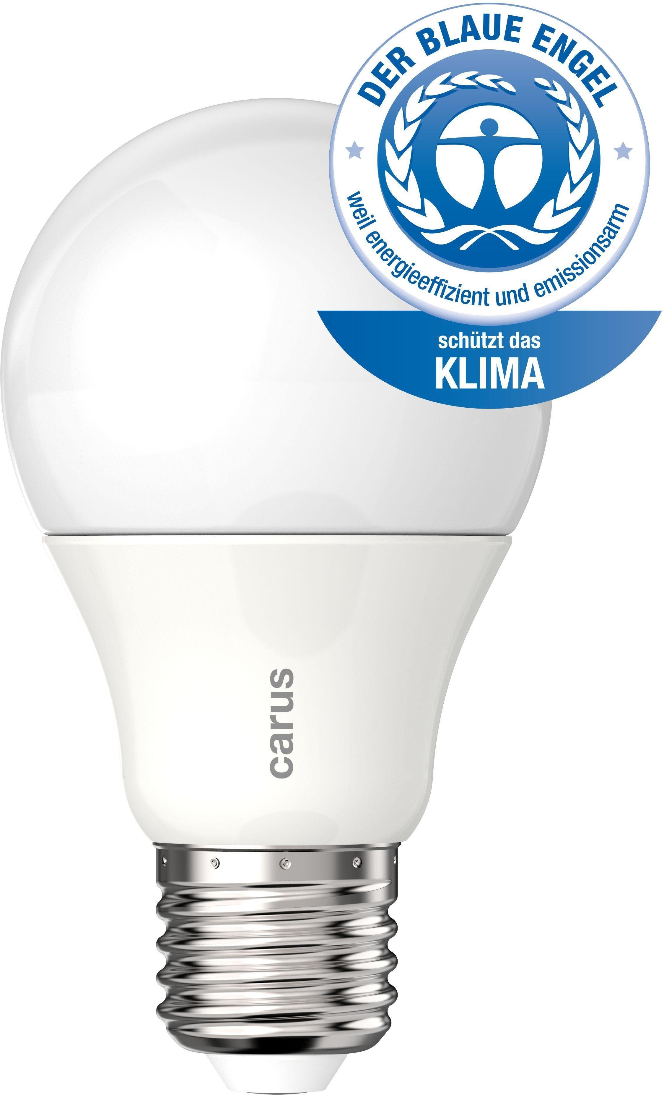 carus »Blauer Engel« LED-Leuchtmittel, E27, 2 Stück, Warmweiß