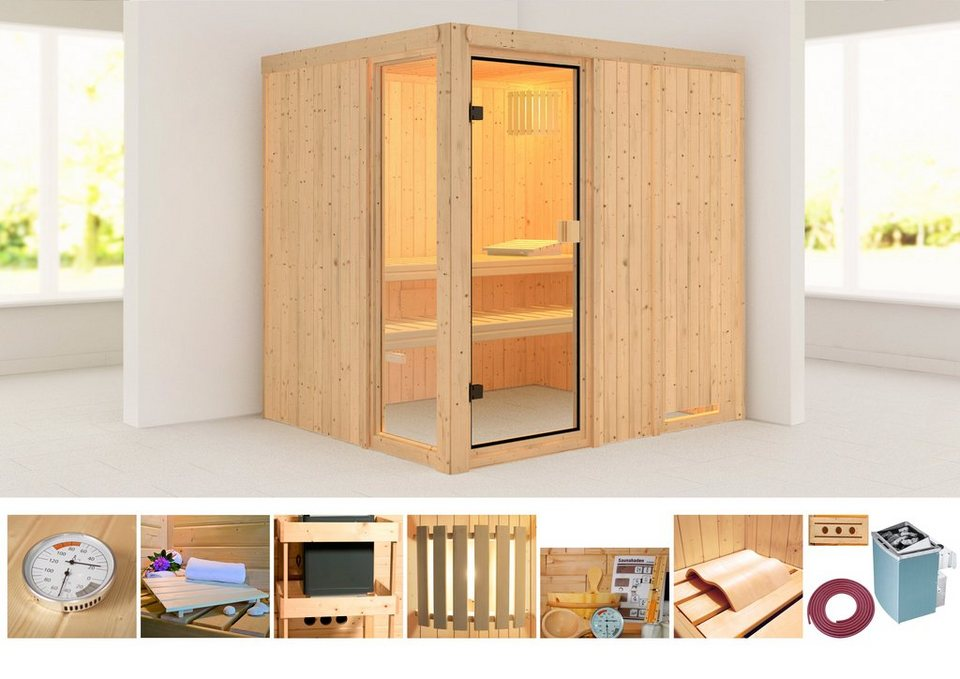 konifera sauna kabolin 196 170 198 cm 68 mm 9 kw ofen mit int steuerung online kaufen otto. Black Bedroom Furniture Sets. Home Design Ideas