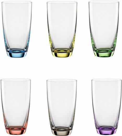 BOHEMIA SELECTION Longdrinkglas »VIVA COLORI« (6-tlg), Kristallglas, dekorieter Eisboden
