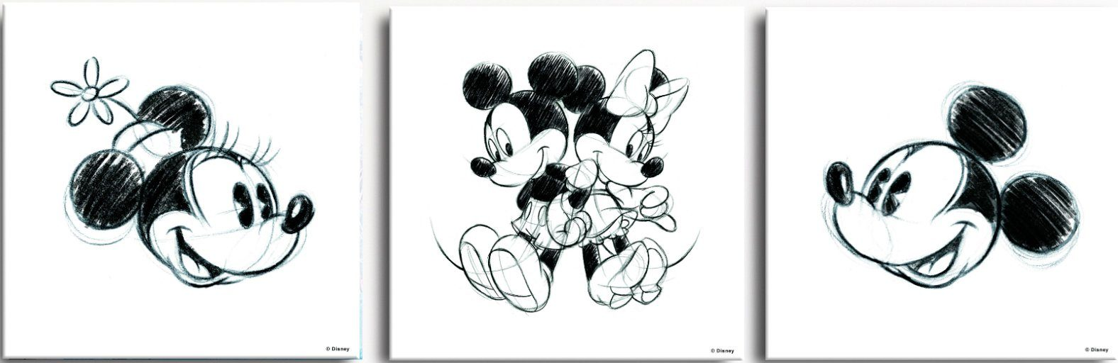 GRAHAM & BROWN Leinwand »Leinwandbild Mickey & Minnie Sketches, 3-er Set«