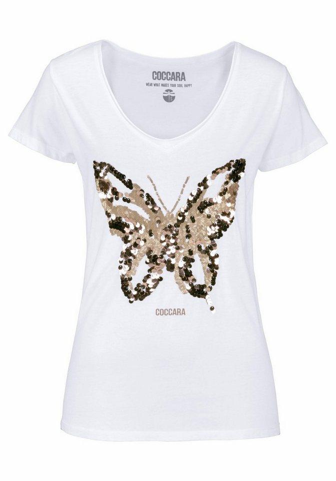 Coccara T-Shirt »NATALIE«, mit Schmetterling aus Pailletten