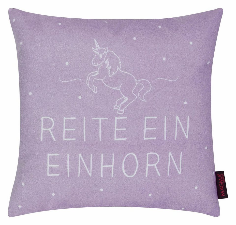 kissen magma heimtex unicorn mit einhorn schriftzug. Black Bedroom Furniture Sets. Home Design Ideas