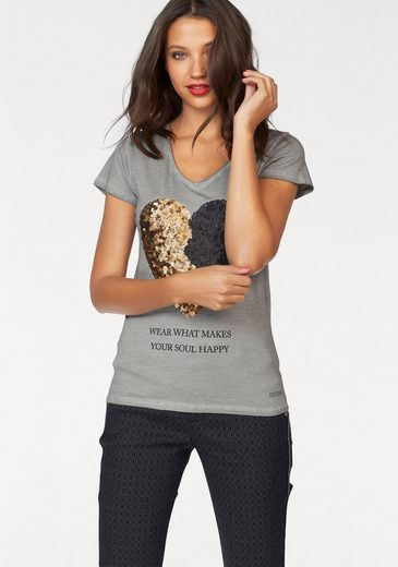Coccara T-Shirt TOSHIA, mit Pailletten-Stickerei in Herzform