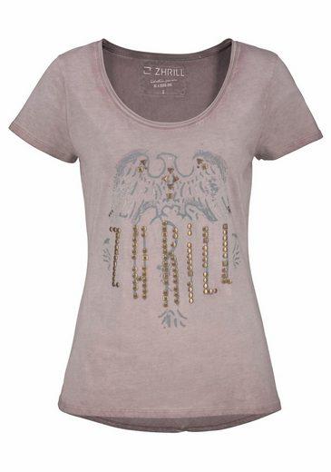 Zhrill T-Shirt DREW, mit Print und Nietenapplikation