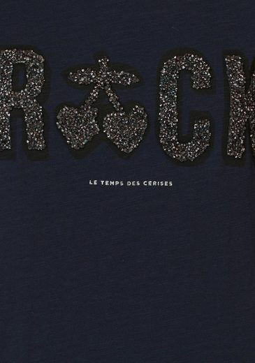 Le Temps Des Cerises T-shirt Glitter, With Print Of Glittering Stones
