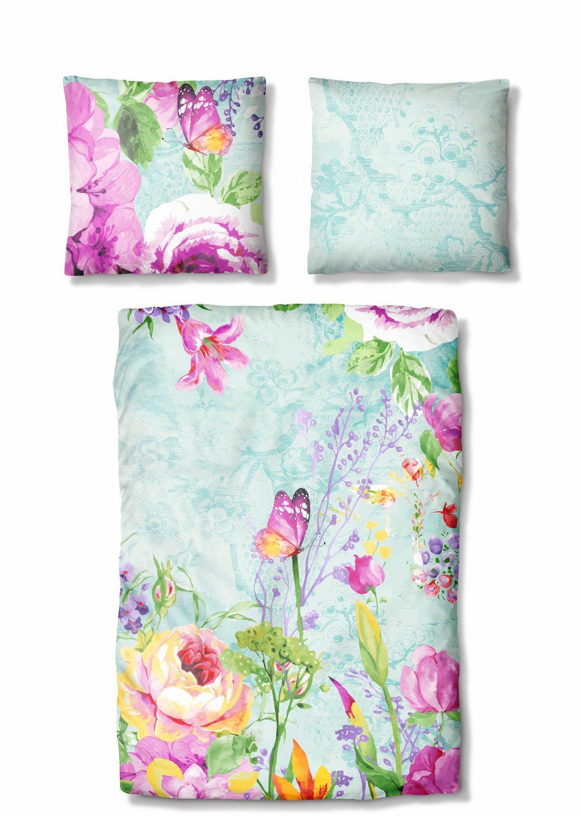 Bettwäsche, Auro Hometextile, »Merle«, mit Blumen Muster - broschei