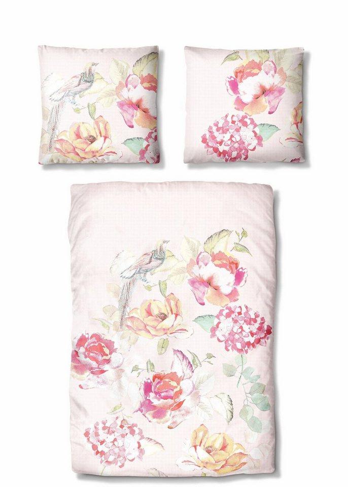 bettw sche auro hometextile roses mit blumen muster online kaufen otto. Black Bedroom Furniture Sets. Home Design Ideas