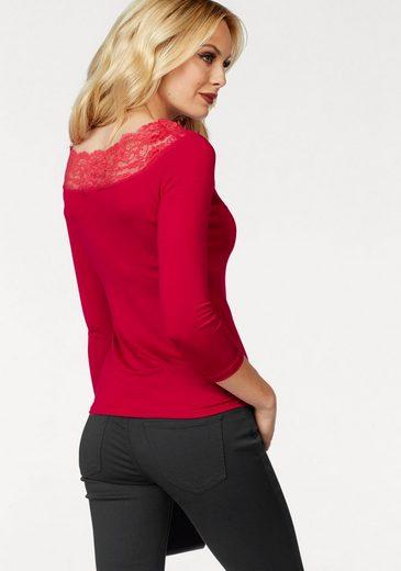 Melrose 3/4-Arm-Shirt, mit Spitze am Ausschnitt