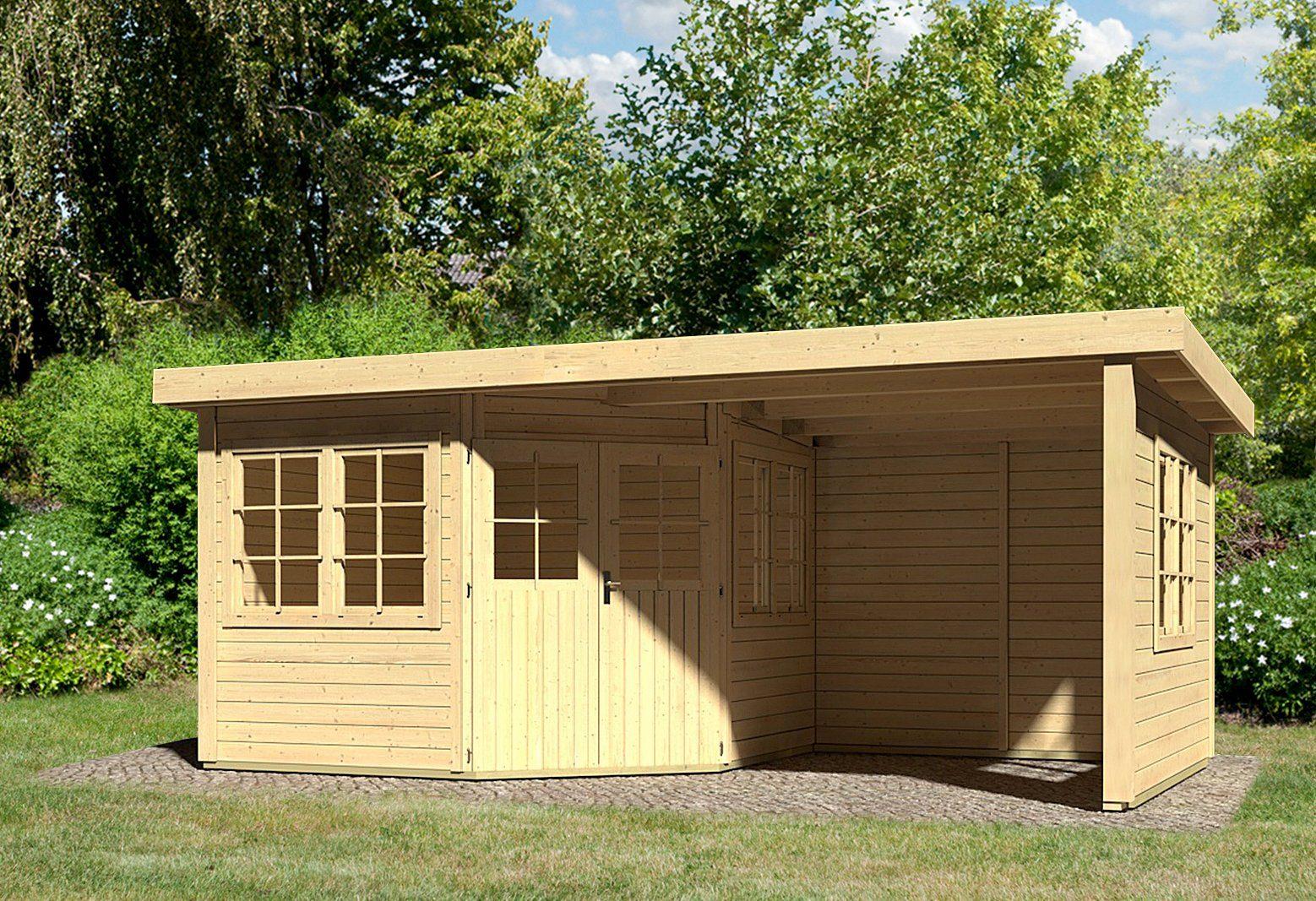 KONIFERA Set: Gartenhaus »Leppin 3«, BxT: 538x303 cm, inkl. Anbau mit Seiten- und Rückwand