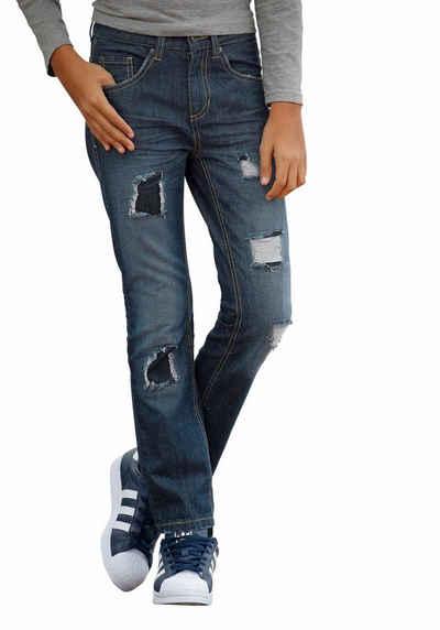baaf655431 Arizona Regular-fit-Jeans mit geradem Bein und mit coolen destroyed Effekten