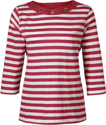 Classic Basics Shirt mit großen silberfarbenen Ösen