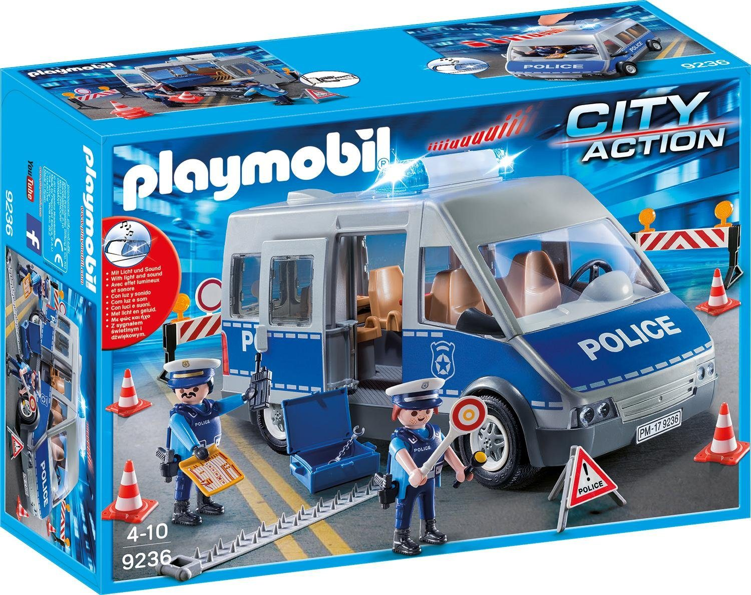 Playmobil® Polizeibus mit Straßensperre (9236), »City Action«
