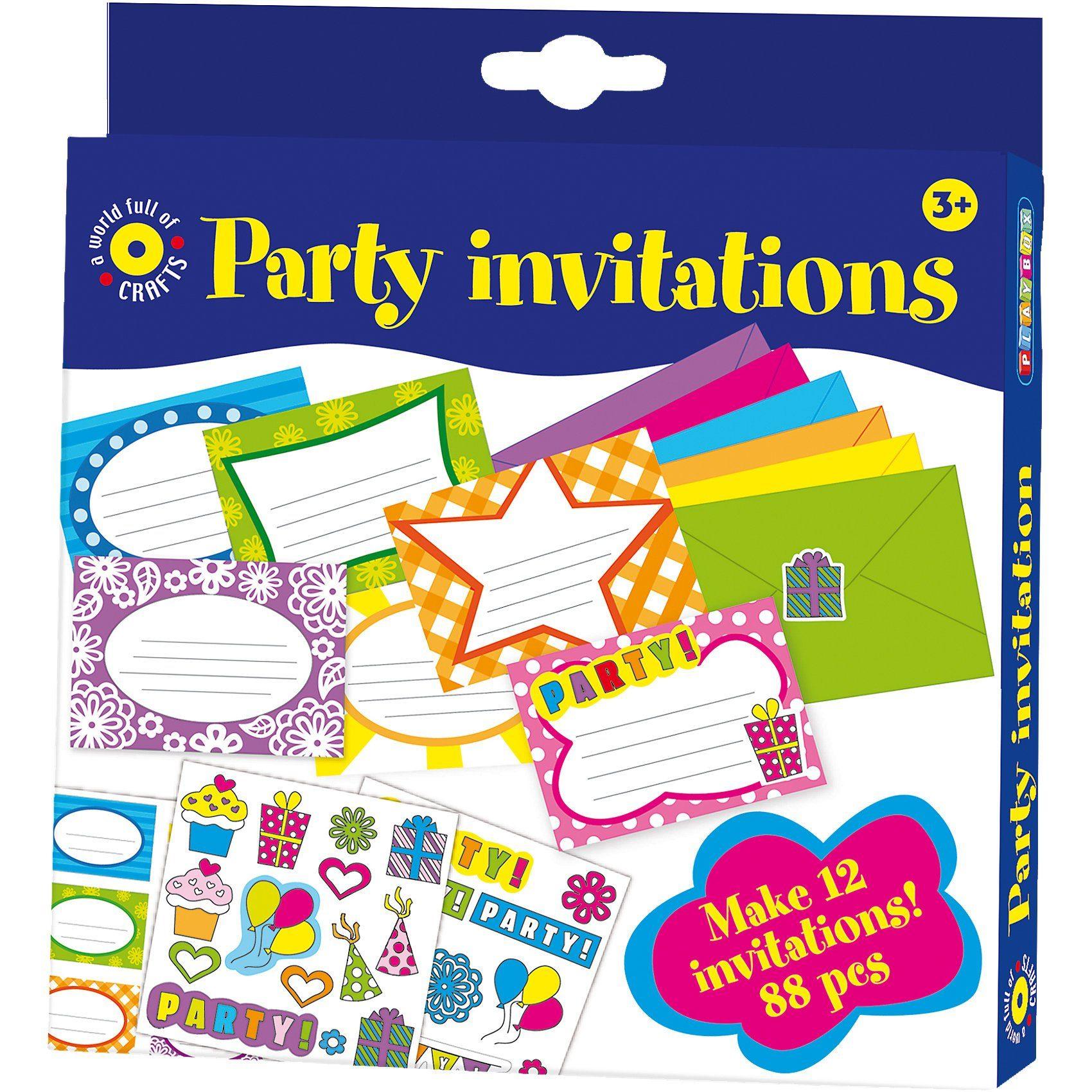 Playbox Bastelset Einladungskarten, 88 Teile