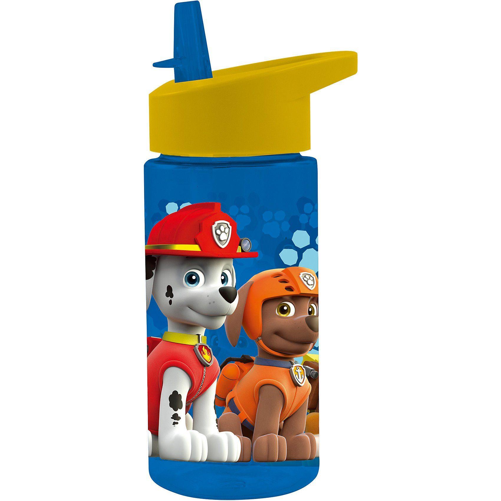 p:os Tritan-Trinkflasche inkl. Strohhalm PAW Patrol, 430 ml