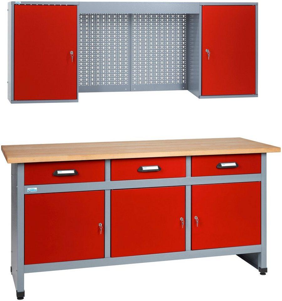 Küpper Werkbank-Set 1,70 m, rot, in verschiedenen Höhen online ...