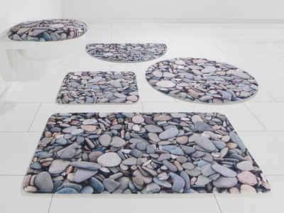 Badematte »Steine« my home, Höhe 14 mm, rutschhemmend beschichtet, Memory Schaum