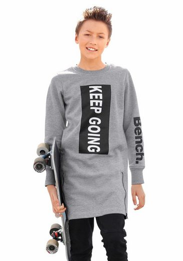 Bench. Longsweatshirt in extra-langer Form mit Reißverschlüssen vorn