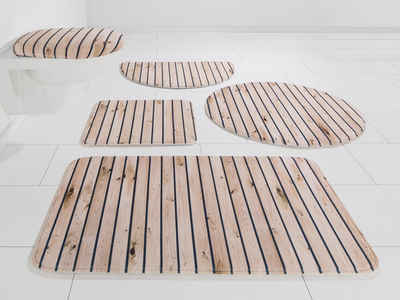 Badematte »Holzoptik« my home, Höhe 14 mm, rutschhemmend beschichtet, Memory Schaum