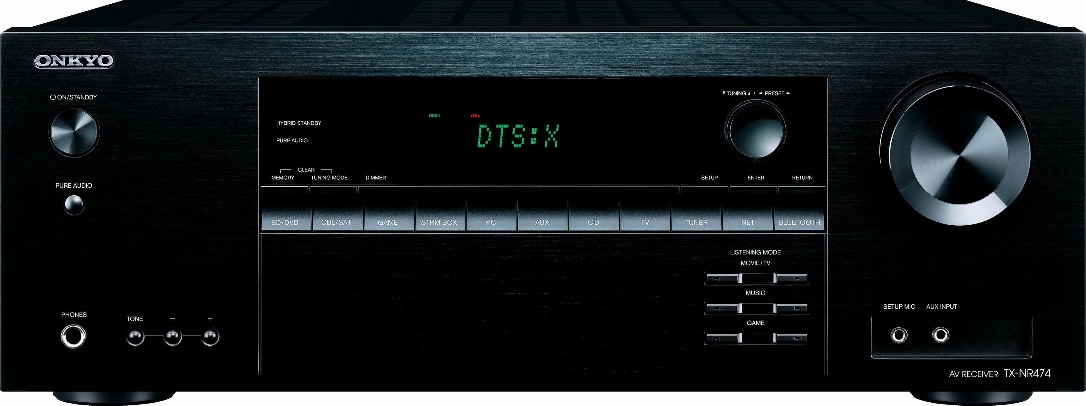 Onkyo »TX-NR474« 5 AV-Receiver (LAN (Ethernet), WLAN, Bluetooth, 3D-fähig, Hi-Res Audio, Klangregelung: Bass, Höhenregler)