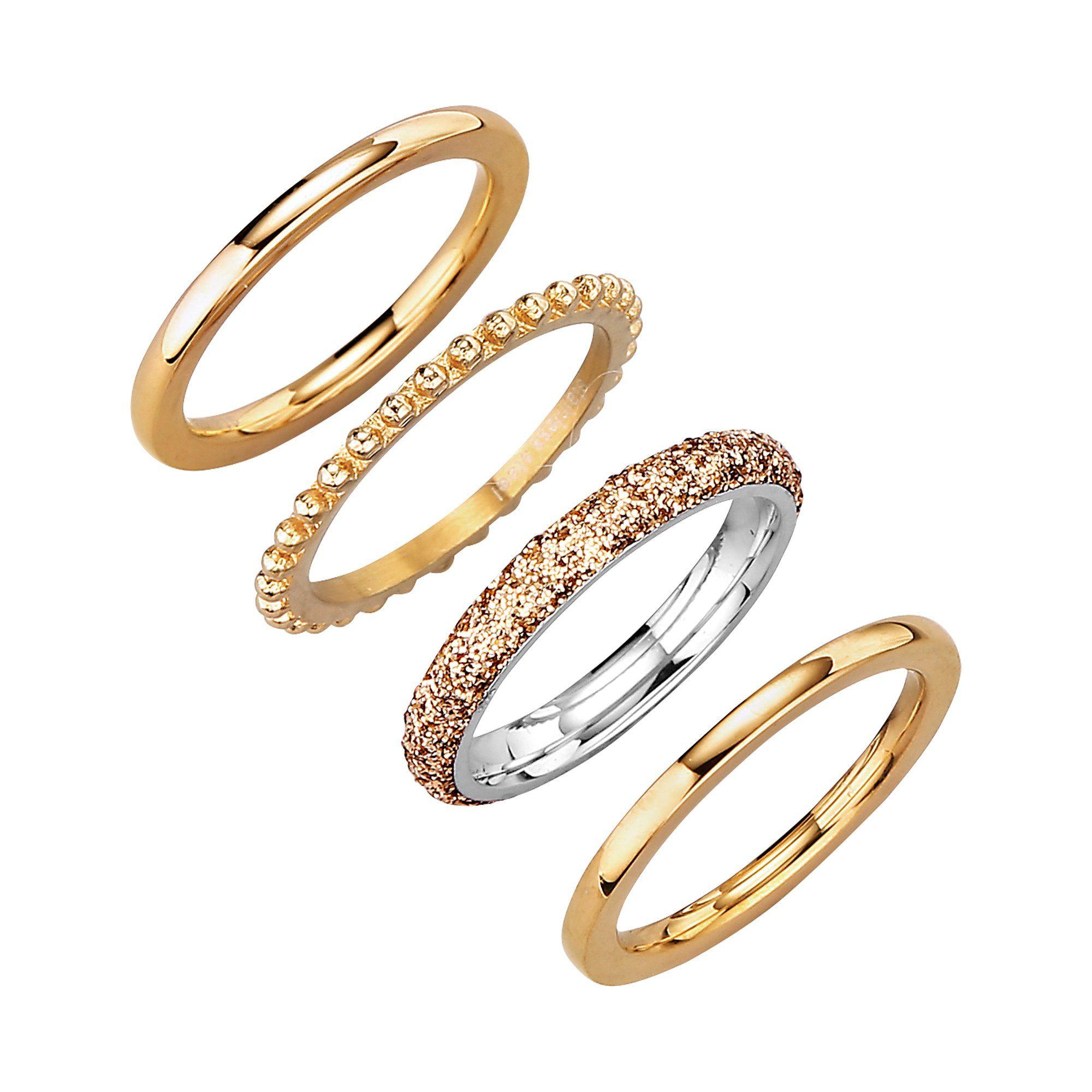 Jacques Lemans Ring-Set »Edelstahl vergoldet«
