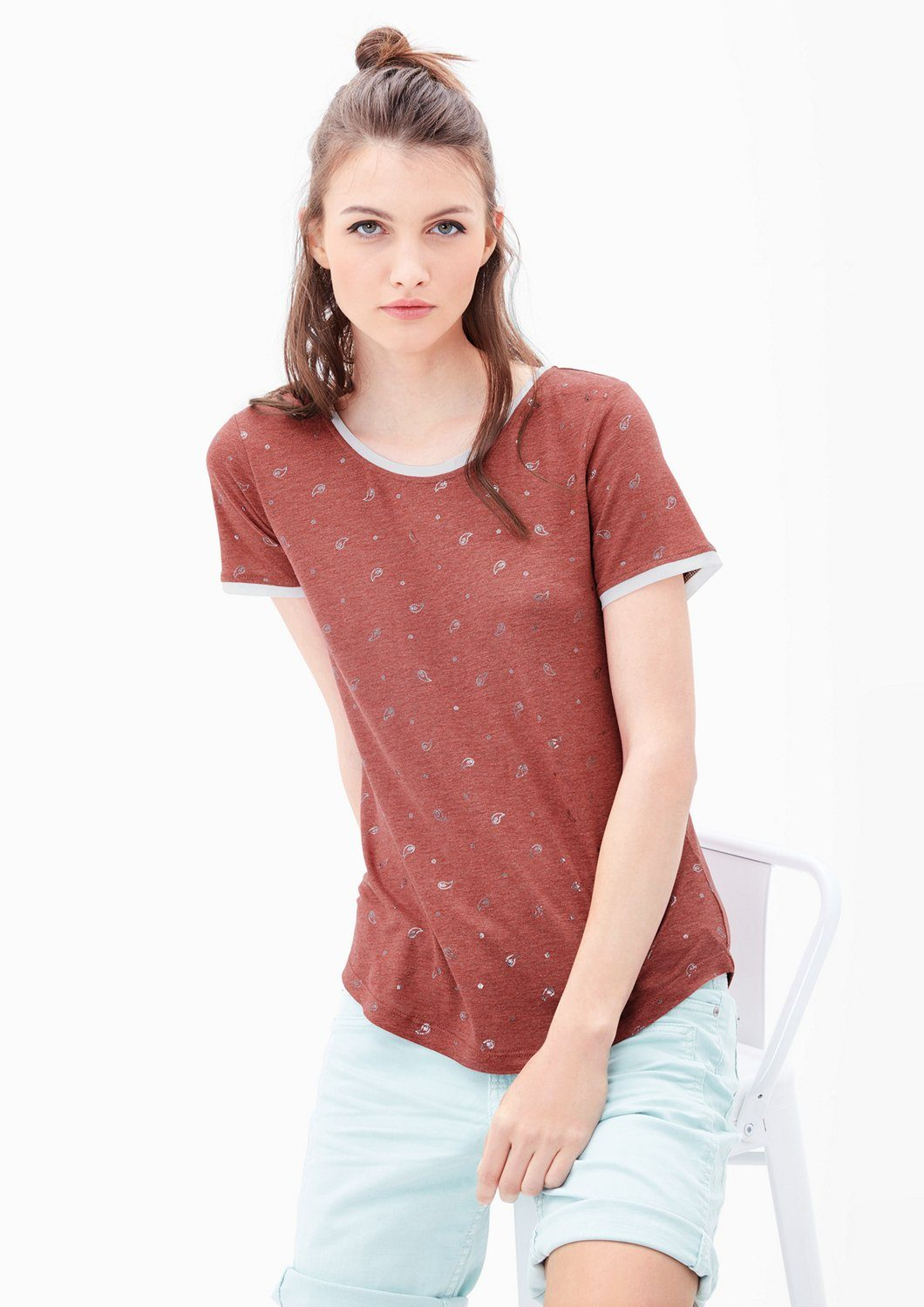 s.Oliver RED LABEL Shirt mit Metallic-Print