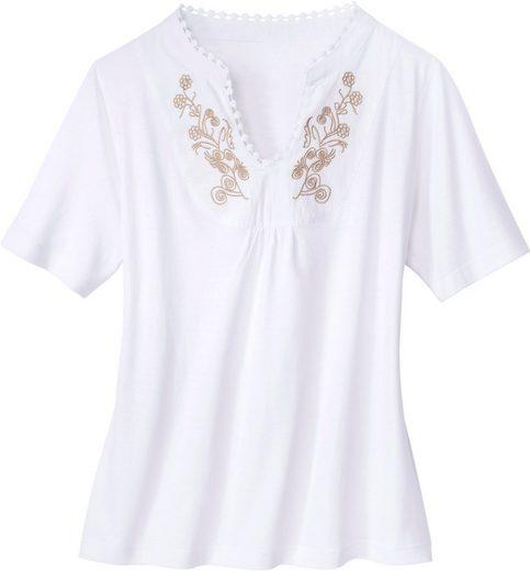 Classic Basics Shirt mit filigraner Stickerei