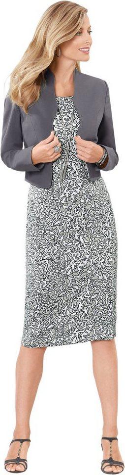 Damen Classic Basics Kleid mit Gehschlitz hinten grau | 08698735112437