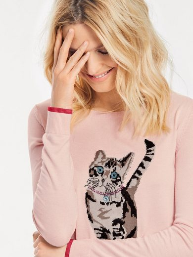 ASHLEY BROOKE by Heine Rundhalspullover mit Katzen-Motiv