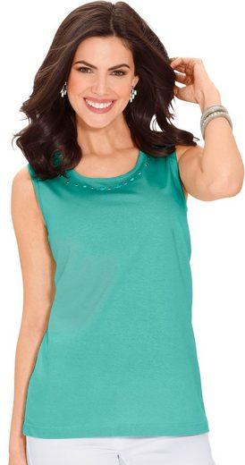 Classic Basics Shirttop mit dekorativen Ziersteinchen