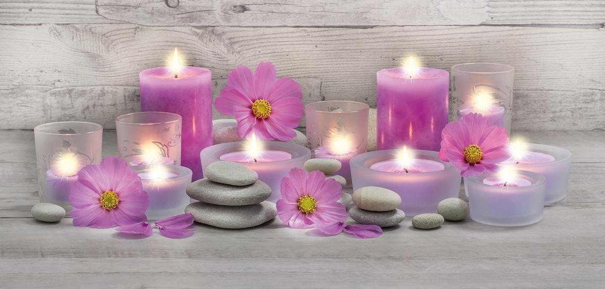 EUROGRAPHICS LED-Bild »Pink Candles«, Blumen, 115/55 cm