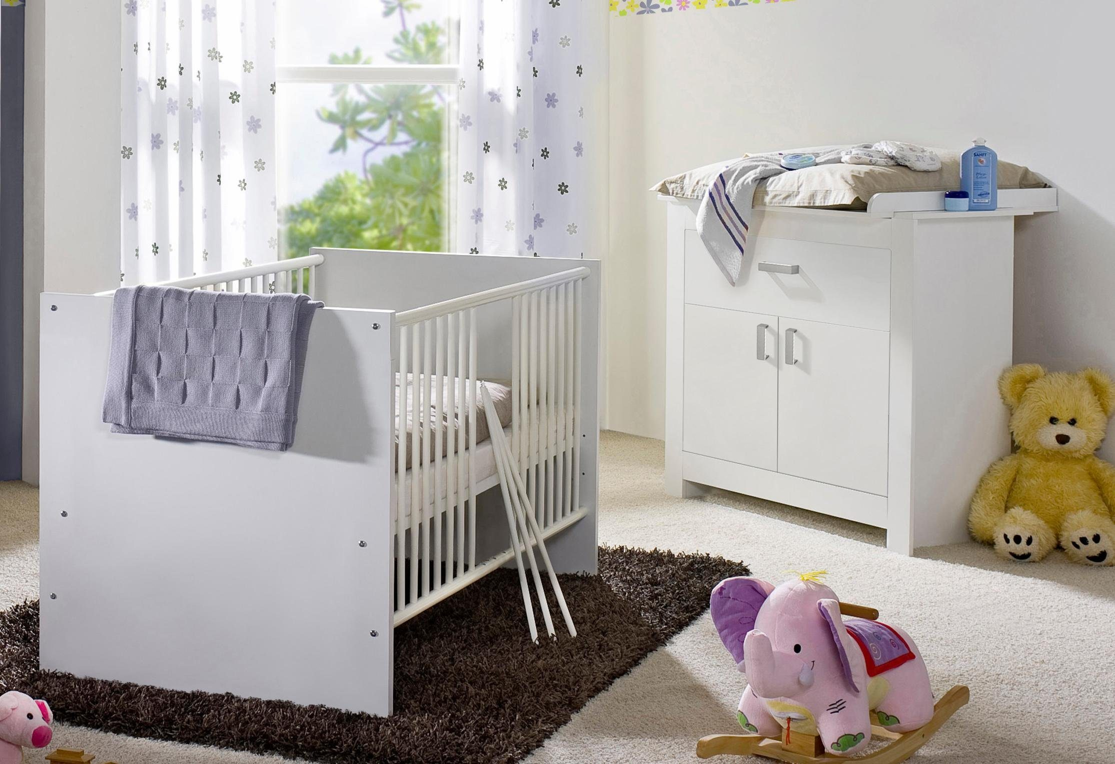 Babyzimmer Spar-Set »Kopenhagen«, Babybett + Wickelkommode in weiß matt