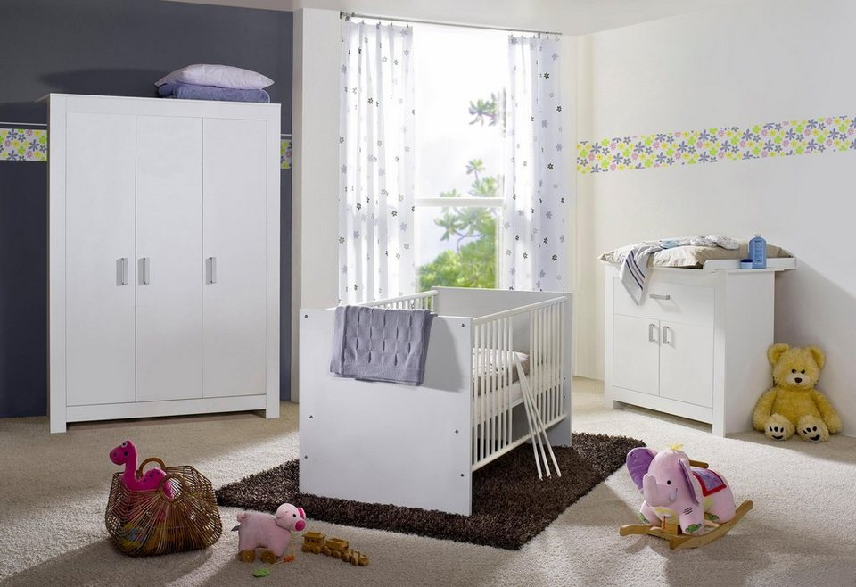 komplett babyzimmer kopenhagen babybett wickelkommode kleiderschrank 3 tlg in wei. Black Bedroom Furniture Sets. Home Design Ideas