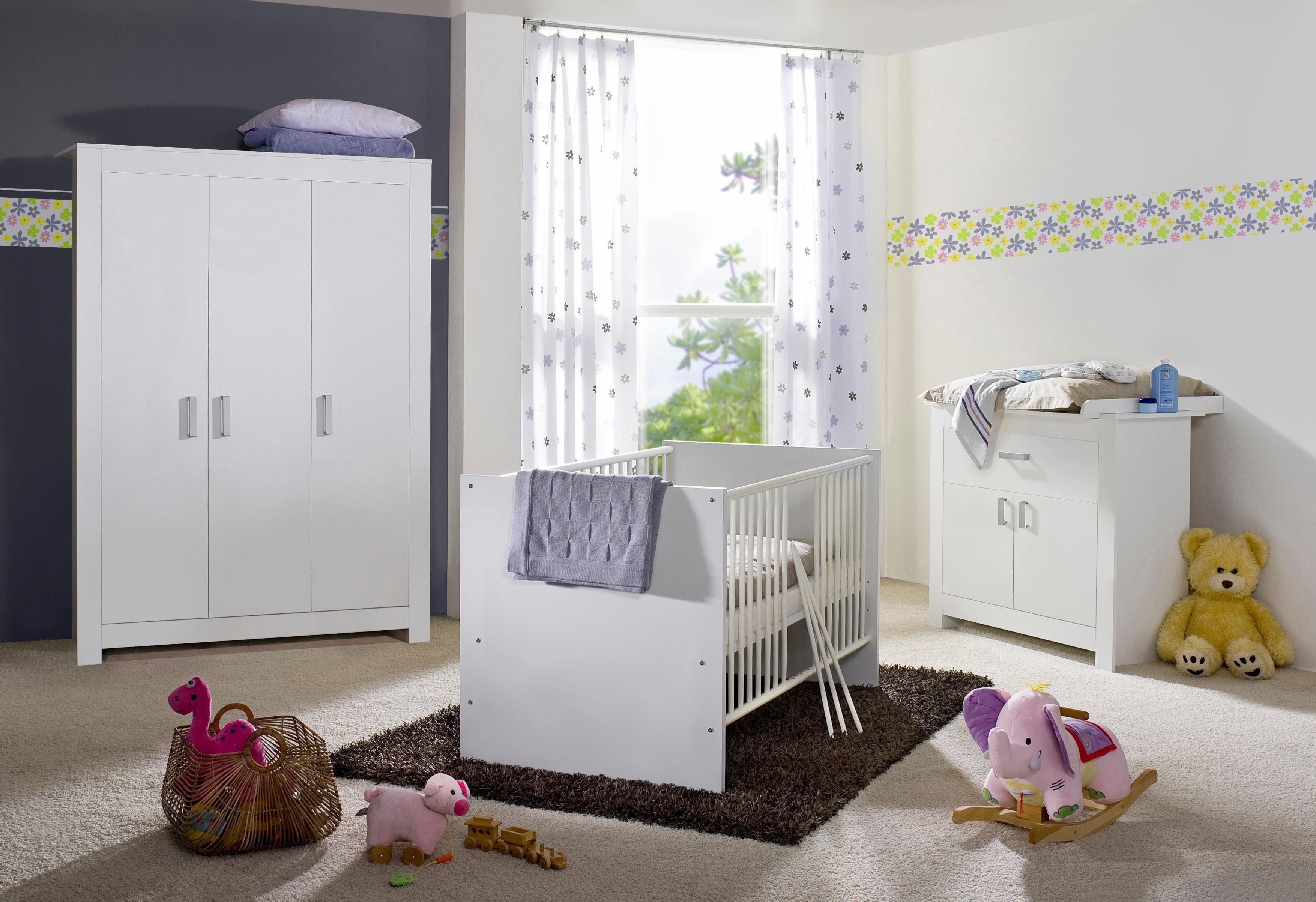 Komplett Babyzimmer »Kopenhagen« Babybett + Wickelkommode + Kleiderschrank (3-tlg.), in weiß matt